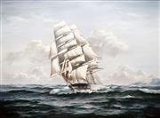 Sale 8781 - Lot 502 - Ian Hansen (1948 - ) - Tall Ship at Sea, 1982 90.5 x 121.5cm