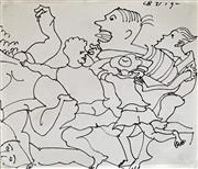 Sale 8808A - Lot 5012 - Charles Blackman (1928 - 2018) - Runners 1992 18 x 20.5cm