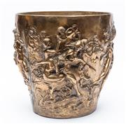 Sale 8926H - Lot 16 - Large heavy continental brass pot with detailed figures  of cherubs and females.    Weight 12 kilos             Height 30cm,  top...