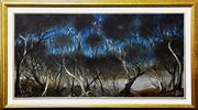 Sale 9015J - Lot 44 - Pro Hart - Farmer in Treescape 60x121cm