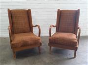 Sale 9071 - Lot 1064 - Pair of Vintage Wing Back Armchairs (h:98 x w:64 c d:60cm)