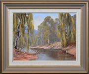 Sale 8301A - Lot 9 - Pat Murphy (active 1980s) - Ibises by the Riverbank 31 x 40.5cm