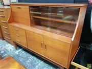 Sale 8566 - Lot 1045 - Vintage Teak High Back Sideboard (114 x 44.5 x 153)