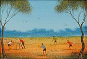 Sale 8624 - Lot 508 - Kym Hart (1965 - ) - Outback Cricket 16.5 x 11.5cm