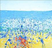 Sale 8723A - Lot 5001 - John Olsen (1928 - ) - Popping Blue Bottles 81 x 87cm (frame size: 95 x 102cm)