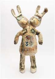 Sale 8770 - Lot 22 - Steve Davies (born 1964) ceramic double headed rabbit sculpture, H x 58cm