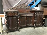 Sale 8822 - Lot 1297 - 19th Century Continental Rosewood Breakfront Sideboard, with recessed centre section with pierced backboard & passionfruit frieze, h...
