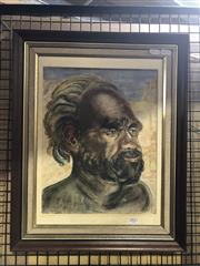 Sale 8824 - Lot 2027 - Artist Unknown - Portrait of an Aboriginal Elder, Souvenir of Alice Spring, 1960 frame size: 60 x 40cm