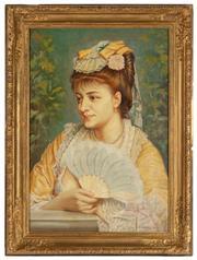 Sale 8871H - Lot 140 - European school portrait of a lady, oil on canvas, signed. 95cm x 62cm