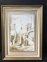Sale 8953 - Lot 2059 - Italian School Town Scene and Water Carriers oil, 86 x 64cm (frame), signed