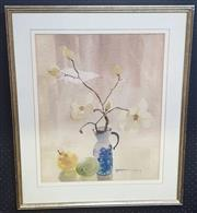Sale 9053 - Lot 2023 - Margaret Coen, Magnolias and Pears, watercolour (AF), 78 x 65 cm (frame), signed lower right
