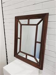Sale 9059 - Lot 1090 - Timber Framed Mirror with Brass Finish (87 x 67cm)