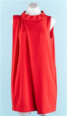 Sale 9091F - Lot 4 - A CALVIN KLEIN RED HIGHNECK SLEEVLESS DRESS; size 6