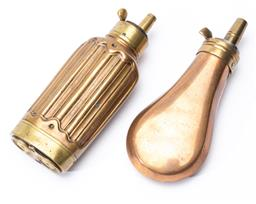 Sale 9130E - Lot 14 - A small copper powder flask with two bullet compartments, Length 12cm, together with another small powder flask, both fitted with br...