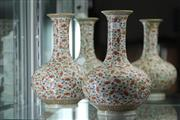 Sale 8339 - Lot 35 - Famille Rose Pair of Globular Vases