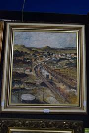 Sale 8569 - Lot 2010 - BC Lawrence - Overlooking Township 1987 39 x 34.5cm (frame)