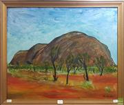 Sale 8604 - Lot 2048 - Piers Bourke - Ayres Rock, 1971, oil on board, 49.5 x 60cm, signed and dated lower right -