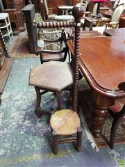 Sale 8634 - Lot 1045 - Early 20th Century French Beech Childs Corner Seat with Light, with turned bobbin post & rush seat
