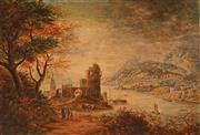 Sale 8657A - Lot 5080 - Artist Unknown (English School) - Village Scene by the Lake 25 x 35.5cm