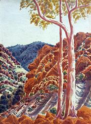 Sale 8655A - Lot 5017 - Oscar Namatjira (1922 - 1991) - Ghost Gums and Gorge 39.5 x 29cm