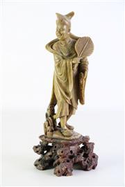 Sale 8902C - Lot 638 - An Antique Carved Soapstone Figure of An Elder on Organic Form Base (H 31cm)