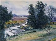 Sale 8980A - Lot 5027 - Reginald Rowe (1916 - 2010) - Grey Day In Merriwa 26.5 x 36.5 cm (frame: 55 x 64 x 3 cm)