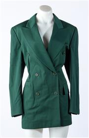 Sale 9003F - Lot 69 - An Escada double breasted blazer in forest green size 40