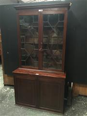 Sale 9080 - Lot 1049 - Georgian Style Mahogany Bookcase, with two astragal glass doors, above two timber panel doors (H:230 x W:107 x D:50cm)
