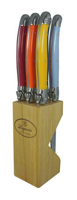 Sale 9080K - Lot 50 - Laguiole by Louis Thiers 6-Piece Steak Knife Set - multi-colour in timber block