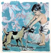 Sale 9080A - Lot 5029 - David Bromley (1960 - ) - Boy and Dog 94 x 94 cm (sheet: 106 x 106 cm)