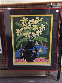 Sale 9127 - Lot 2056 - Ken Done Frangipani screenprint, ed. 171/500 (A.F - foxing, broken glass), frame: 82 x 70 cm,