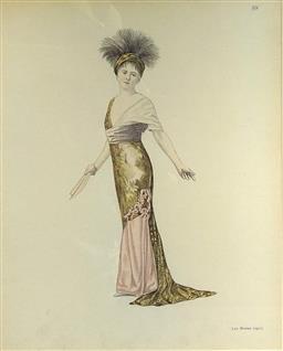 Sale 9142A - Lot 5096 - Antique French Lithograph - Les Modes No59 - Cocktail Dress 26 x 21 cm (frame: 53 x 48 cm)