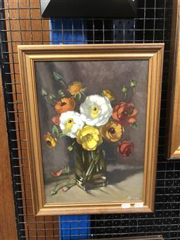Sale 9147 - Lot 2005 - Artist Unknown (Nicola) Poppies oil on board 46 x 34cm (frame) signed