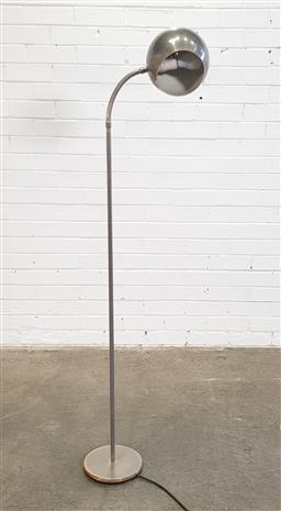 Sale 9154 - Lot 1001 - Retro ball form shade floor lamp with brushed steel finish (h:167cm)