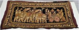 Sale 9157 - Lot 1080 - Gilt Indian tapestry depicting a procession of Elephants