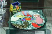 Sale 8340 - Lot 42 - Barbara Swarbrick Pottery Lorikeet Vase & Plate