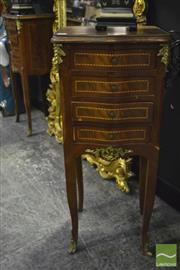Sale 8368 - Lot 1008 - Pair of French Style Bedside with Four Drawers & Brass Mounts