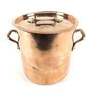 Sale 8760D - Lot 13 - Large French Copper Stock Pot with Lid and Brass Handles H: 28cm