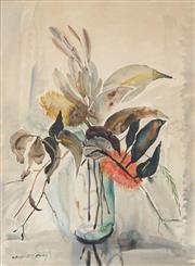 Sale 9055A - Lot 5001 - Margaret Coen (1913 - 1993) - Banskia Flowers 58.5 x 42.5 cm (frame: 78 x 62 x 2 cm)