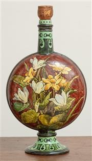 Sale 9070H - Lot 96 - A Doulton Lambeth Faience bottle vase with daffodil and orchid design, total Height 30cm