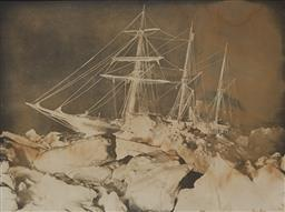 Sale 9116 - Lot 559 - Frank Hurley (1885 - 1962) The Endurance at Night, 1914 - 1916 photograph (A.F) 73.5 x 99 cm (frame: 97 x 122 x 6 cm) signed lower r...