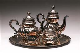Sale 9122 - Lot 10 - Wilkens Baroque Five Piece Sterling Silver (0.925) Tea/Coffee Service Of Tray, Coffee Pot, Teapot Sugar & Creamer (Total Wt 3.10kg)