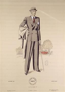 Sale 9142A - Lot 5097 - Antique French Lithograph - La mode offcielle Paris London New York– Autumn 1934 37 x 27 cm (frame: 55.5 x 45 cm)