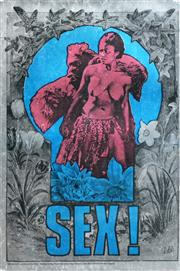 Sale 8287 - Lot 1075 - Martin Sharp (1942 - 2013) - Sex (Big O) 75.5 x 50.5cm