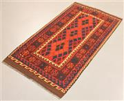 Sale 8445K - Lot 89 - Fine Kyber Afghan Kilim Rug , 193x100cm, Finely handwoven in Northern Afghanistan using high quality local wool. Rich and earthy col...