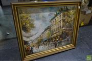 Sale 8537 - Lot 2099 - Morgan, Paris Street Scene Framed Oil on Board SLR