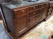 Sale 8740 - Lot 1033 - Timber Sideboard with Glass Top, Seven Drawers & Two Doors