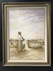 Sale 8953 - Lot 2055 - Italian School Saudade oil, 122 x 92cm (frame), signed