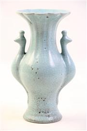 Sale 8997A - Lot 629 - Ru style glazed Chinese baluster vase with two phoenix shaped handles (H18cm)