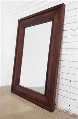 Sale 9112 - Lot 1016 - Large timber frame mirror (146 x 105cm)